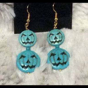 Halloween Turquoise Blue Pumpkin Face Earrings
